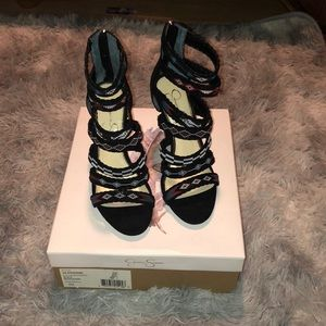 Black heels with straps